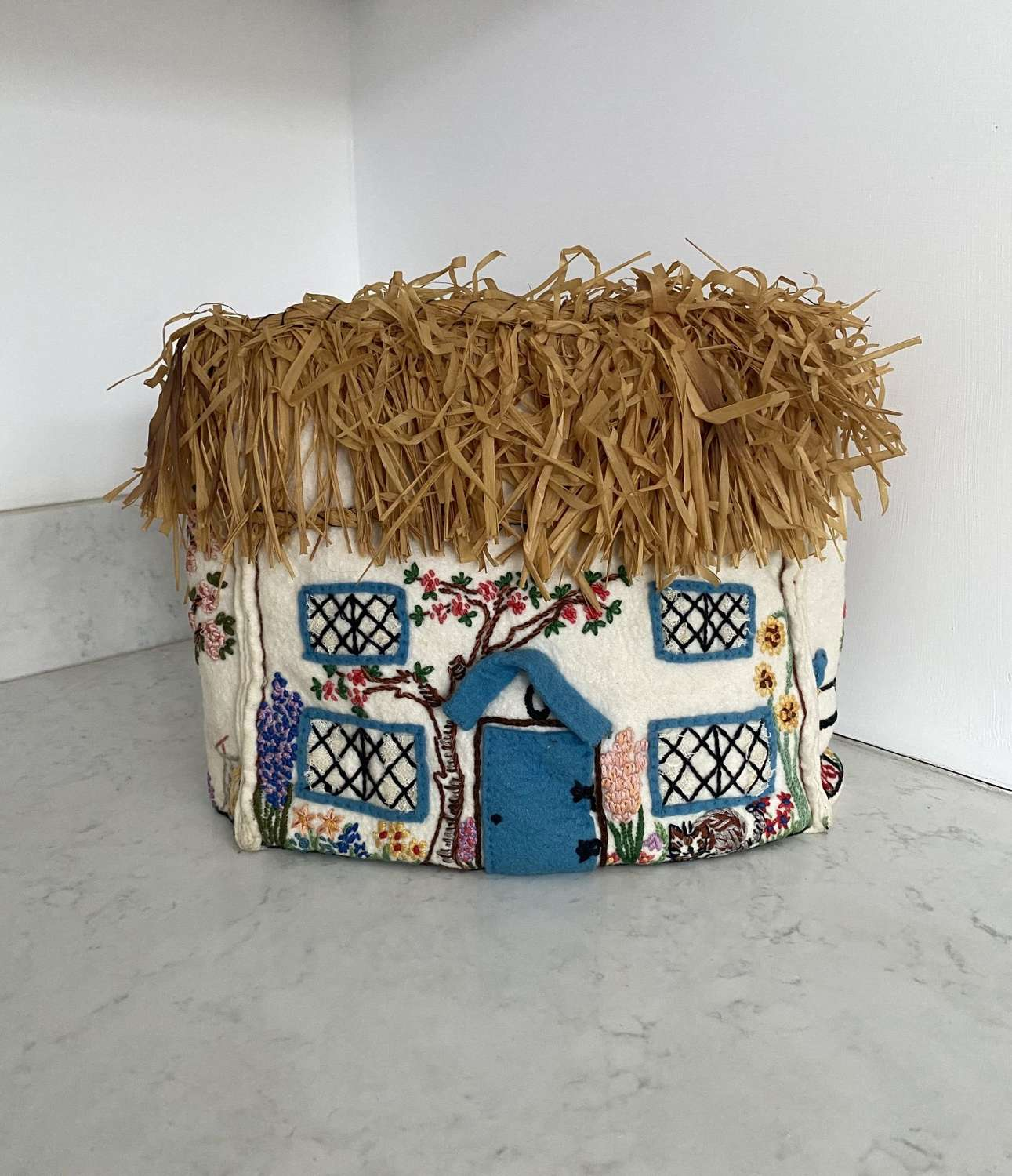 Early 20th Century Embroidered Felt Cottage Tea Cosy with Straw Roof