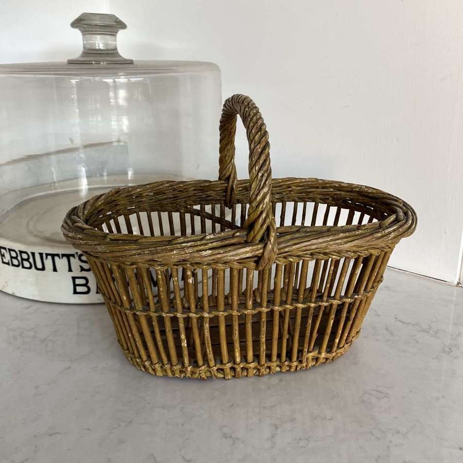 Early 20th Century Berry Basket. Slatted Sides & Wooden Base.