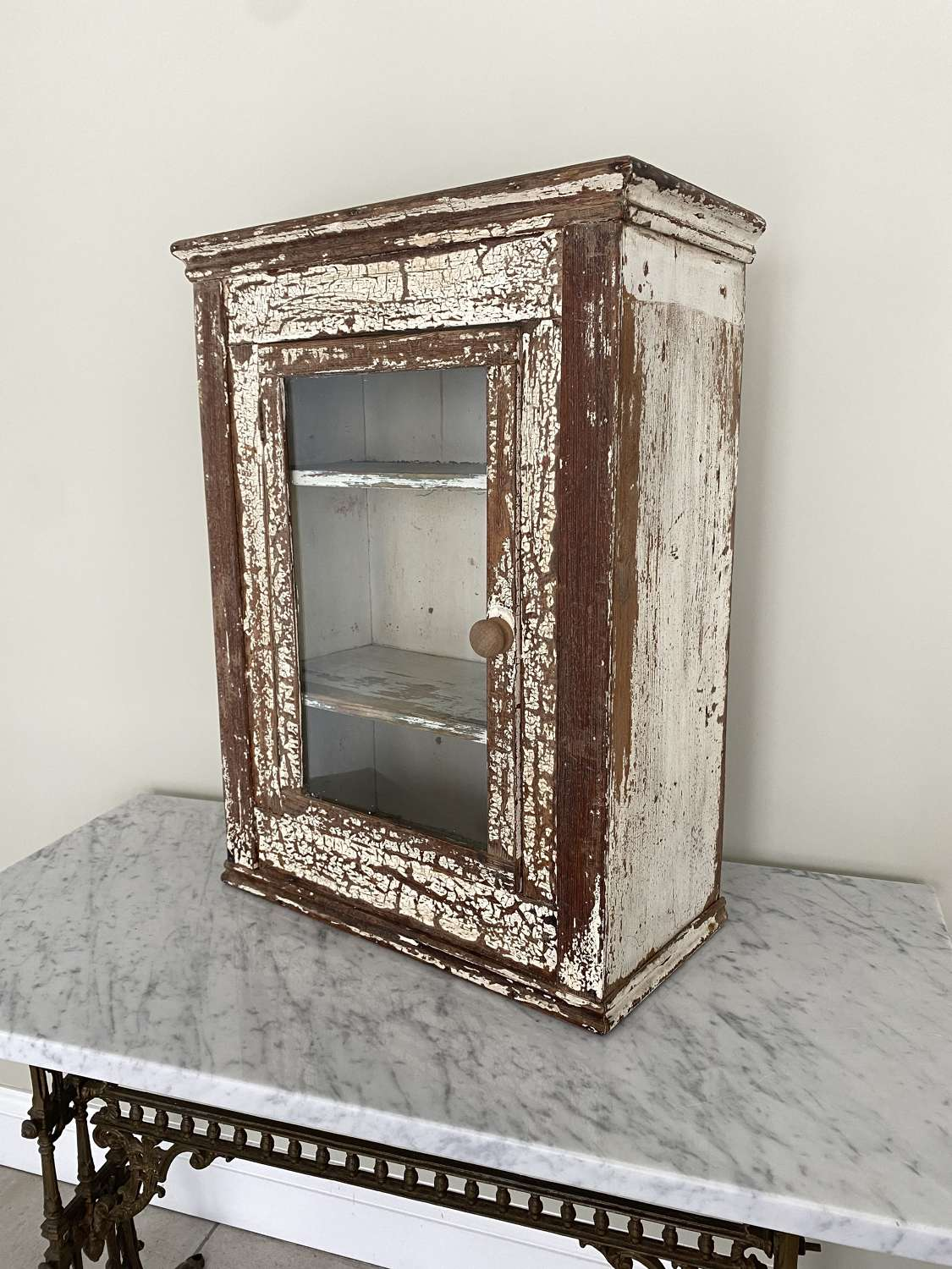 Early 20th Century Glazed Front Wall Cupboard - Original Paint