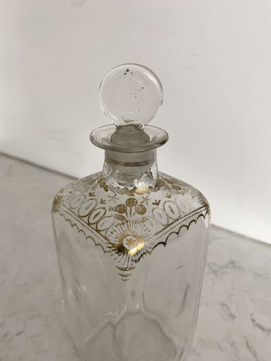 Early Victorian Gilded Hand Blown Bottle with Original Stopper