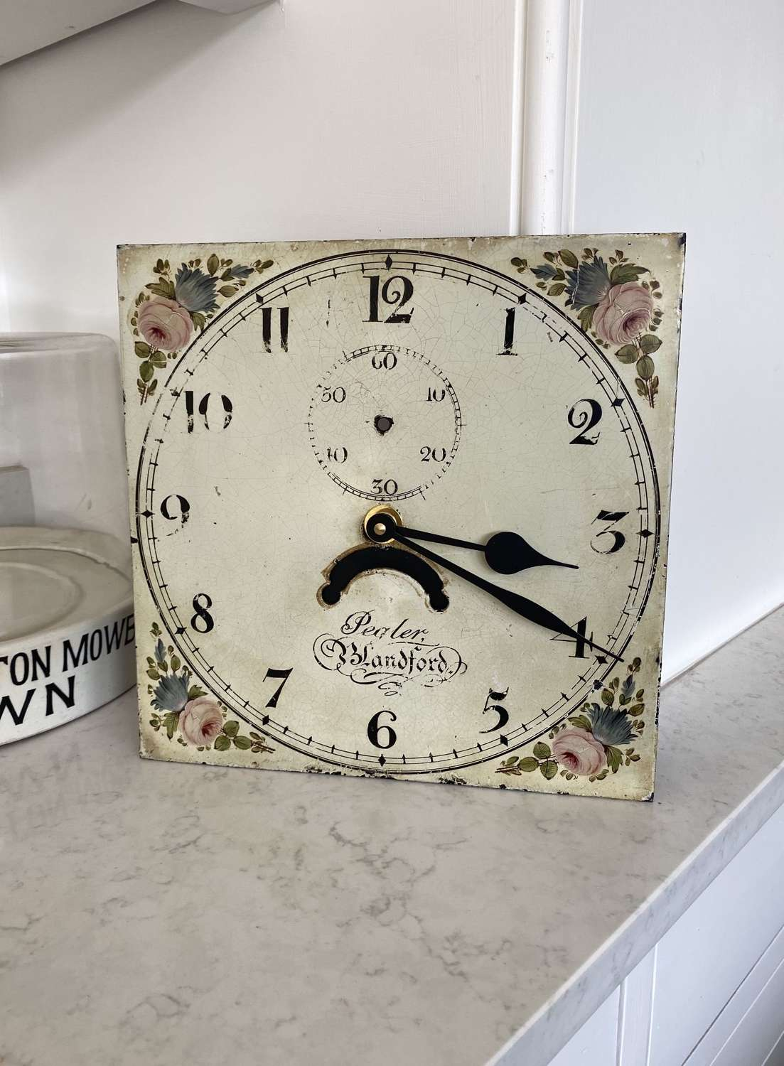 Late 19thC Hand Painted Clock Face - Quartz Movement - Fully Working