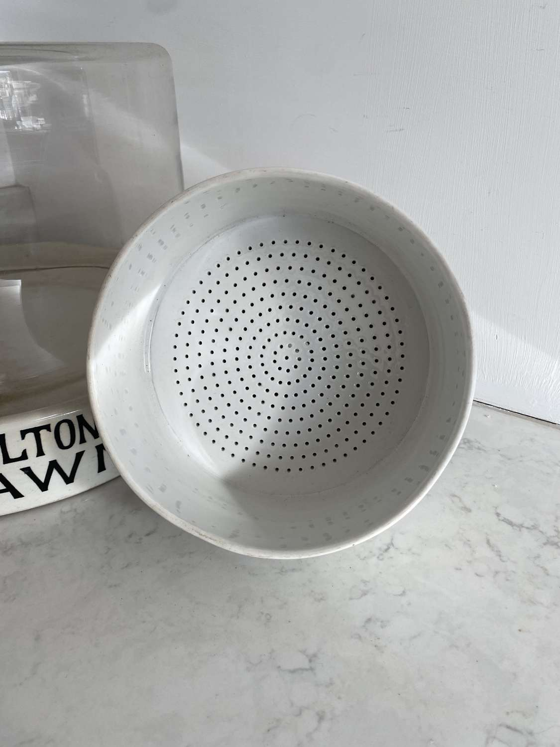 Early 20th Century Large White Ironstone Sieve - Royal Worcester Stamp