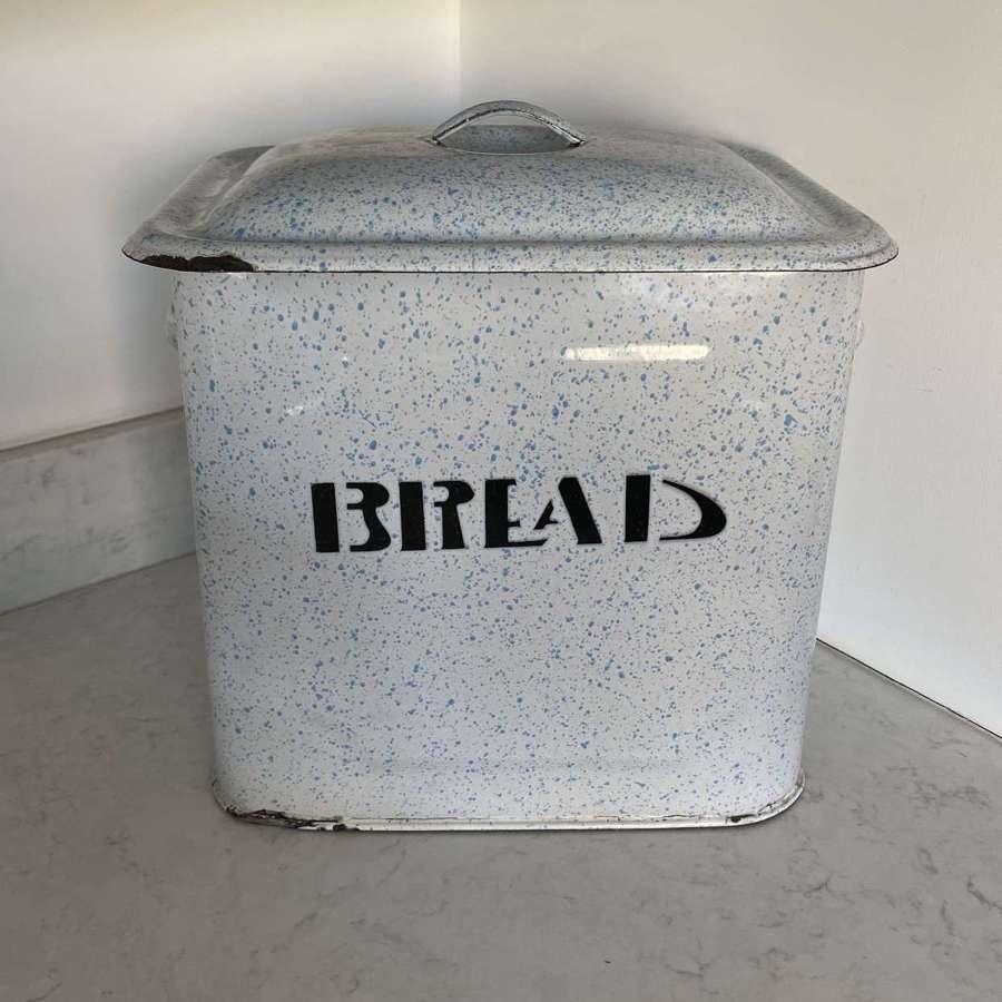 Early 20th Century Rare Speckled Blue Enamel Bread Bin