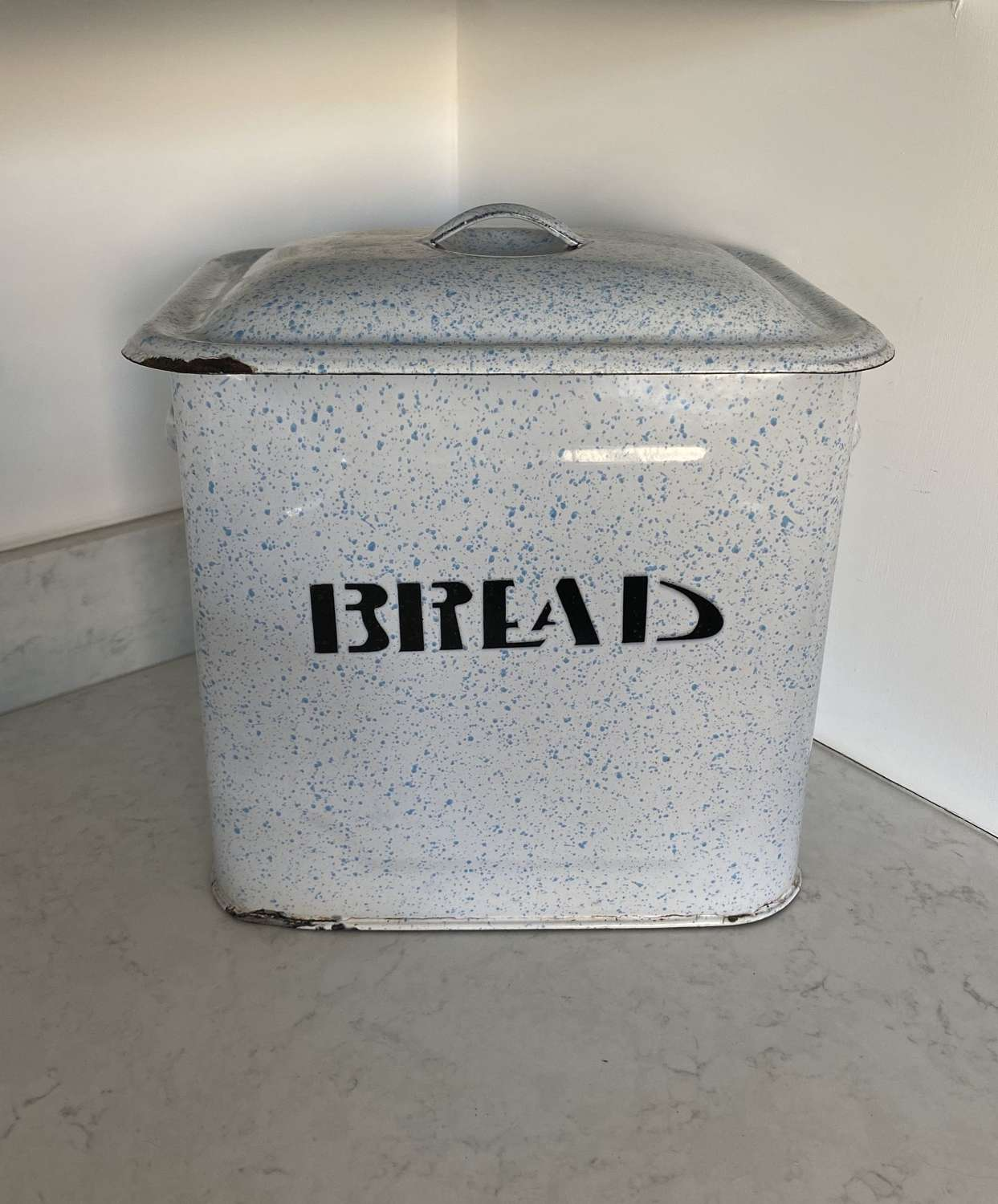 Early 20th Century Rare Speckled Blue Enamel Bread Bin