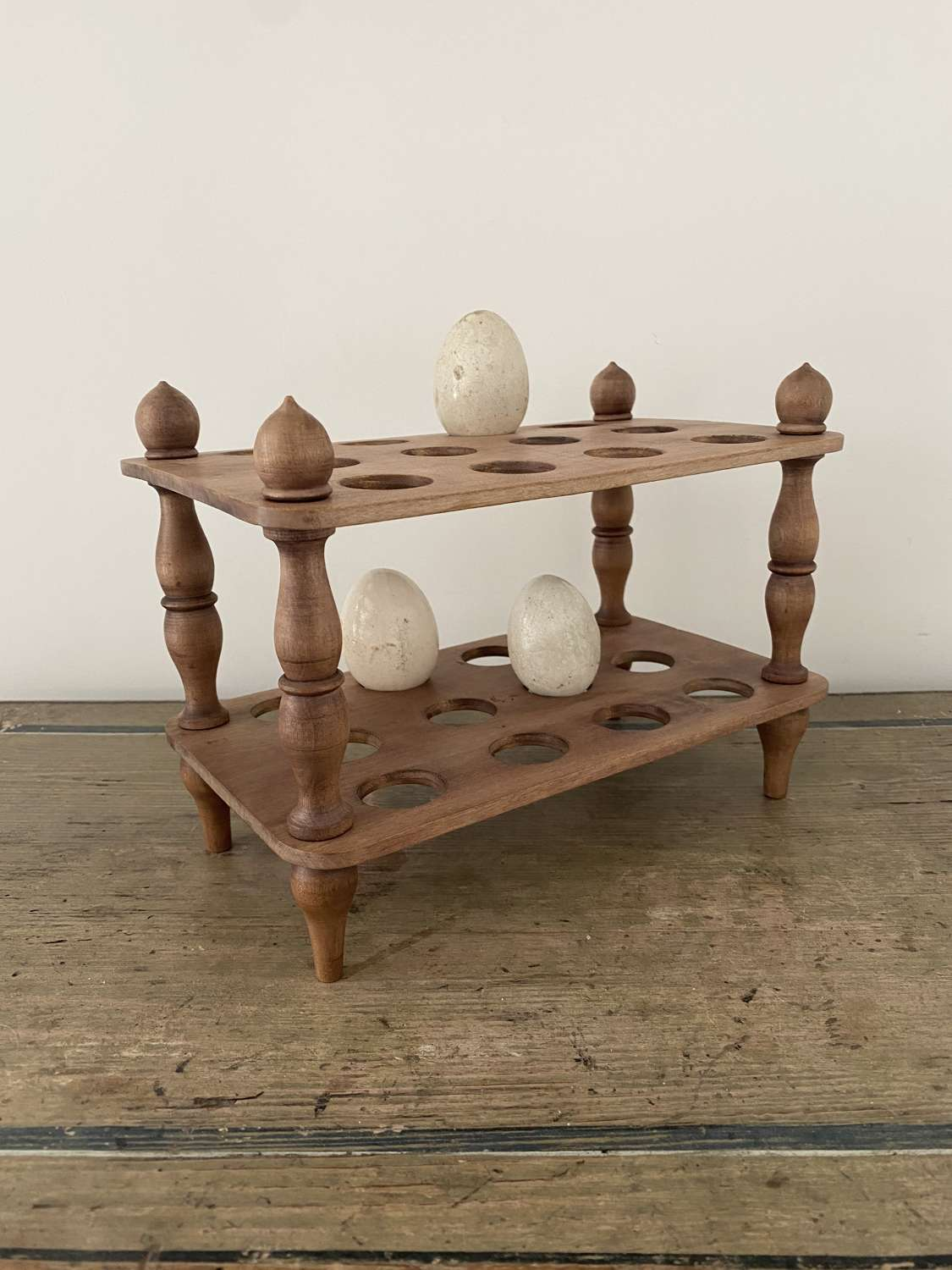 Early 20th Century Two Tier Egg Rack with Turned Column Supports