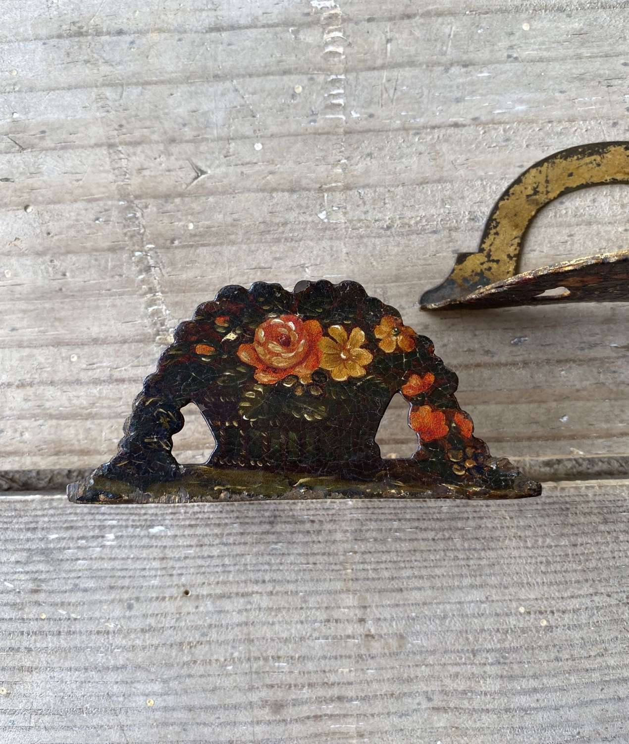 Pair of Victorian Toleware Floral Card Holders
