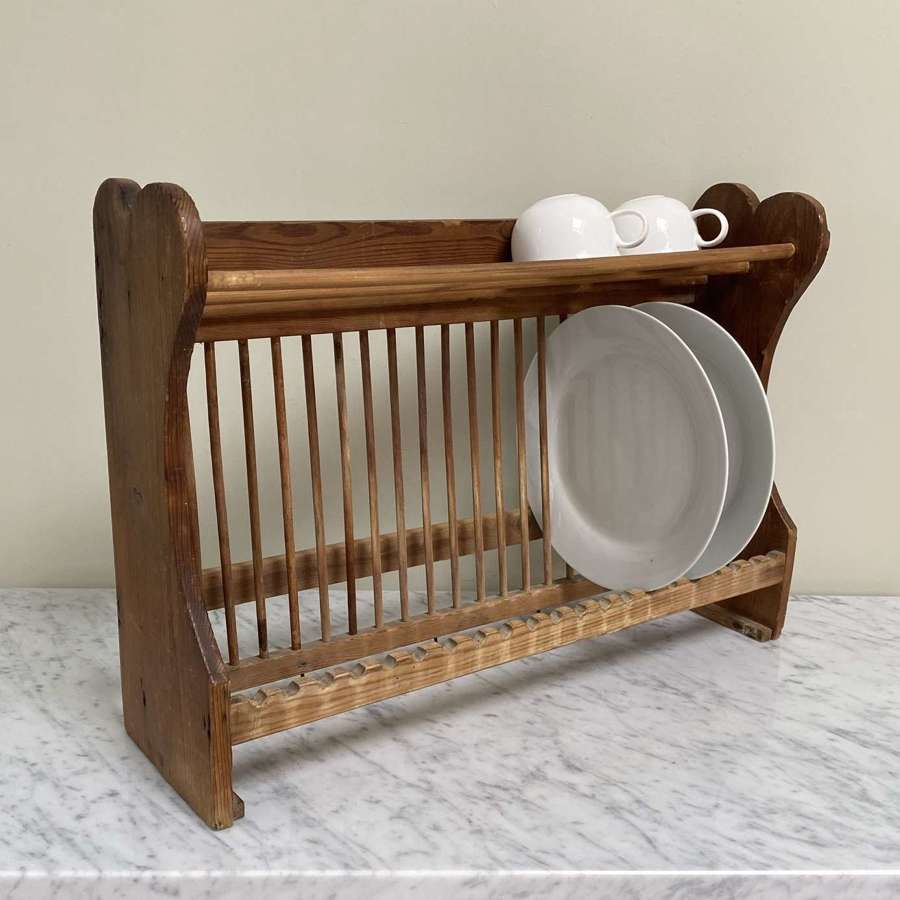 Antique Early 20thC Pine Plate Rack with Handy Cup-Mug Rack