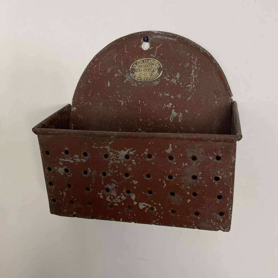 Late Victorian-Edwardian Sink Tidy with Orig Paint & Brass Plaque