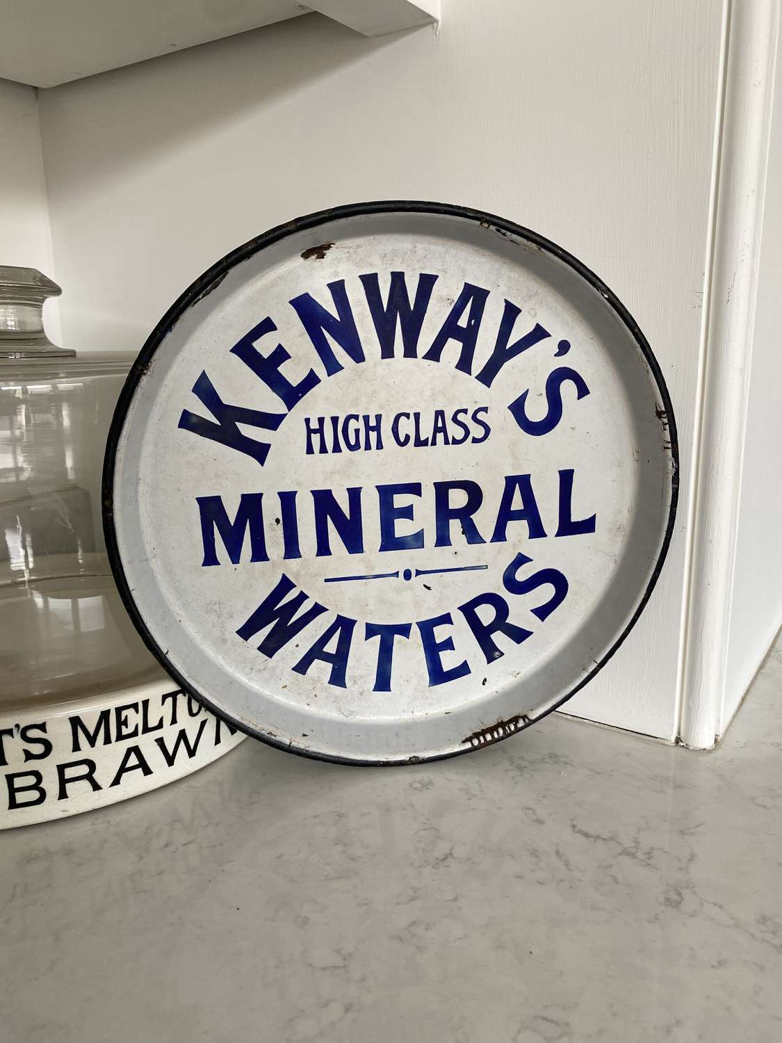 Early 20th Century Enamel Advertising Tray - Kenways Mineral Waters