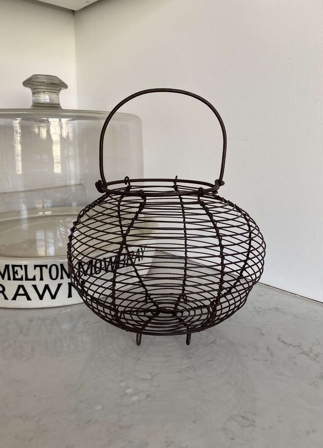 Antique Wire Work Egg Basket in Great Condition