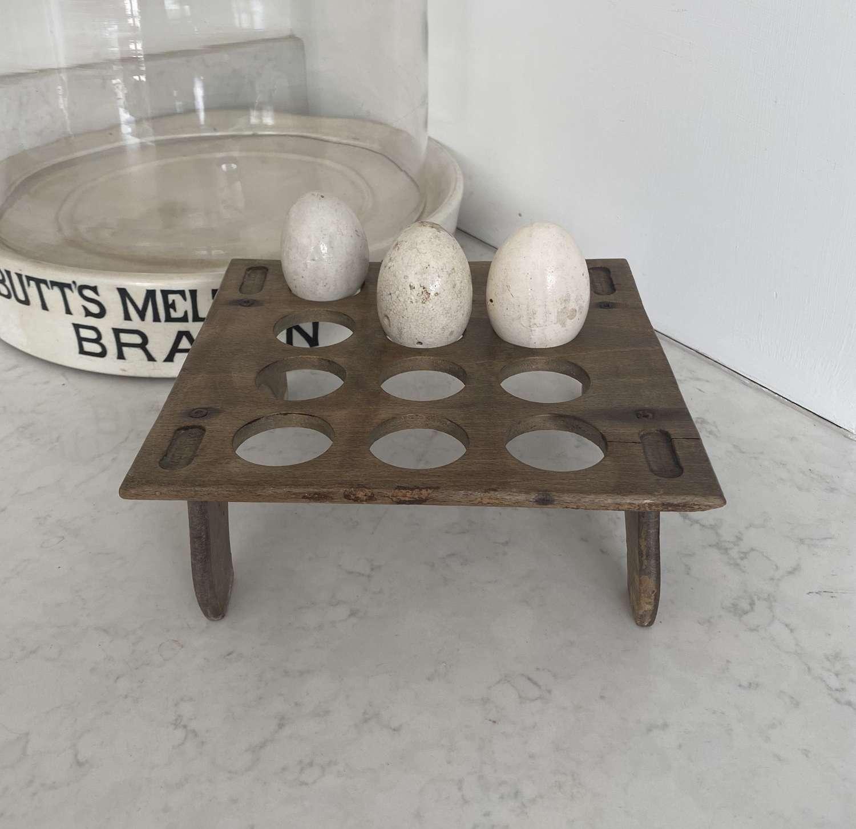 Early 20th Century Treen Egg Rack for One Dozen Eggs