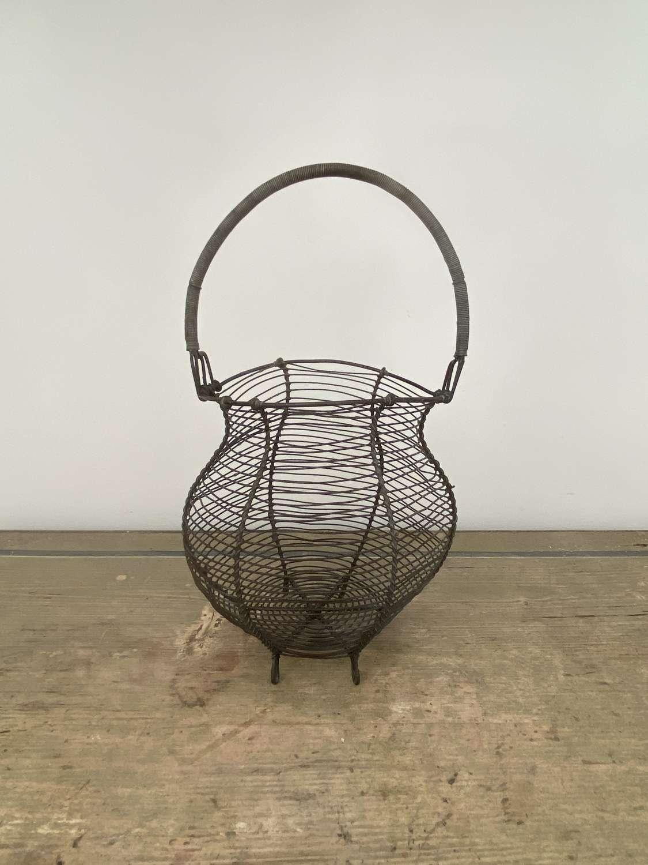 Victorian Wire Work Egg Basket - Fine Work Raised on Six Feet