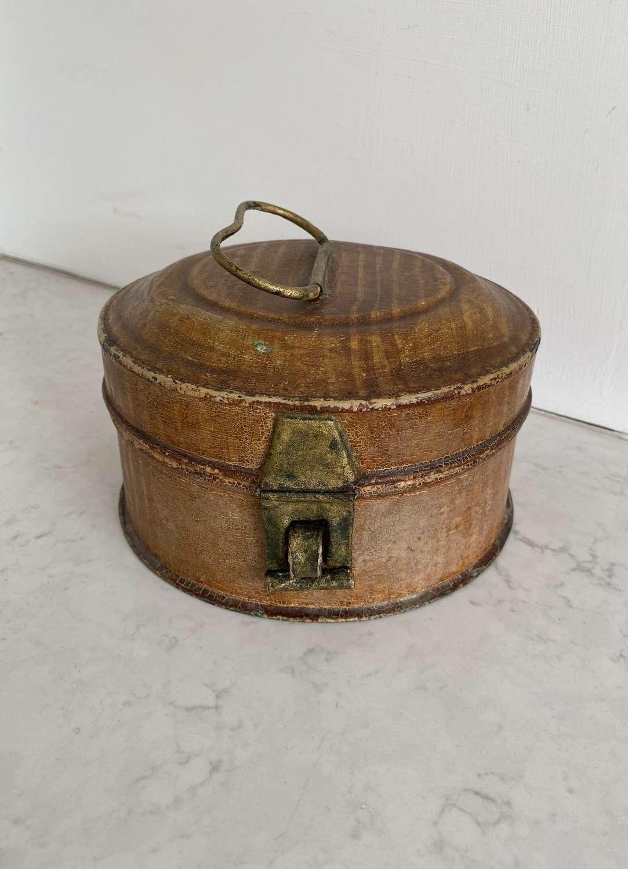 Victorian Toleware Round Spice Tin with Original Grater