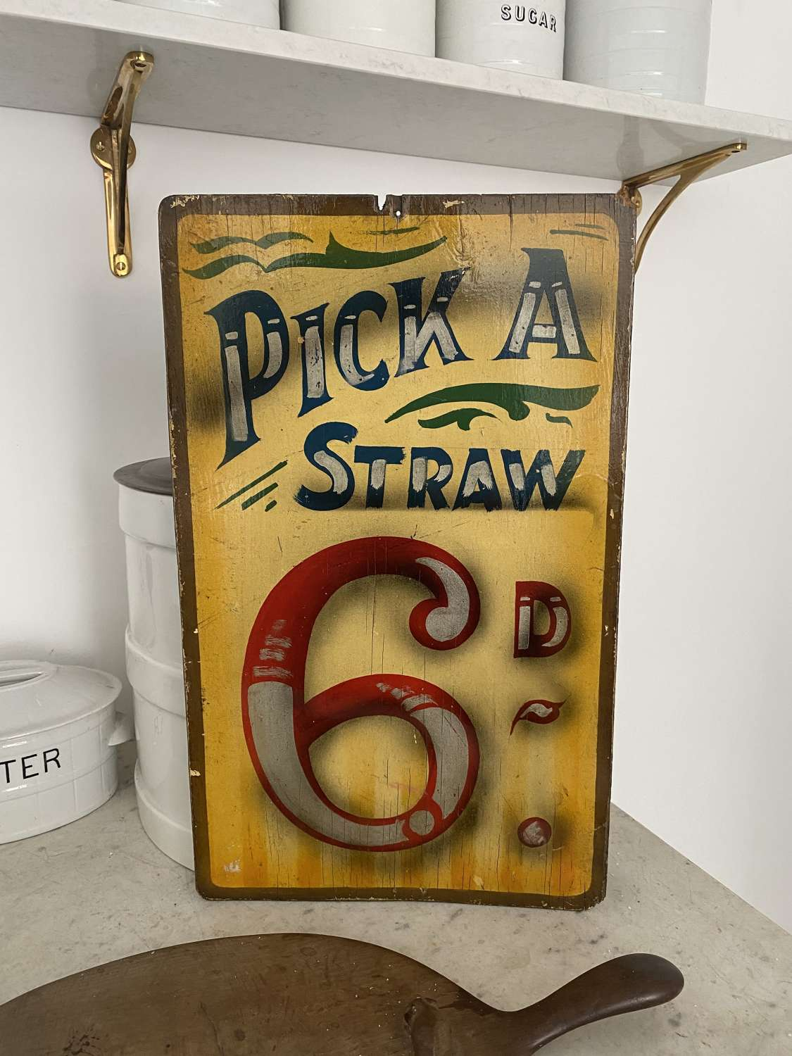 Genuine Hand Painted Fairground Sign c1950. Pick A Straw 6D