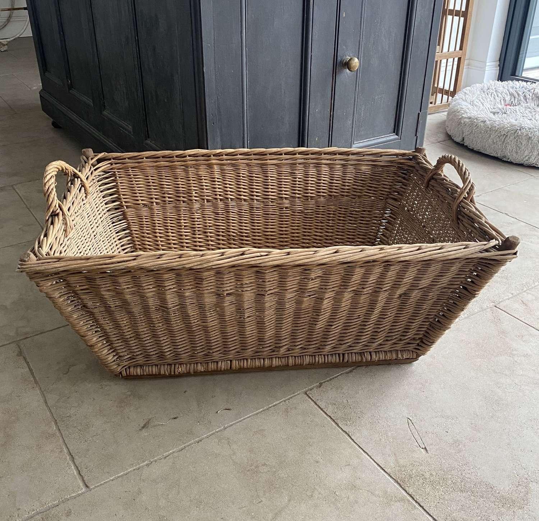 Large Antique Basket with Wooden Slat Base & Side Handles.