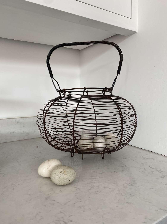 Large Antique Wire Work Egg Basket