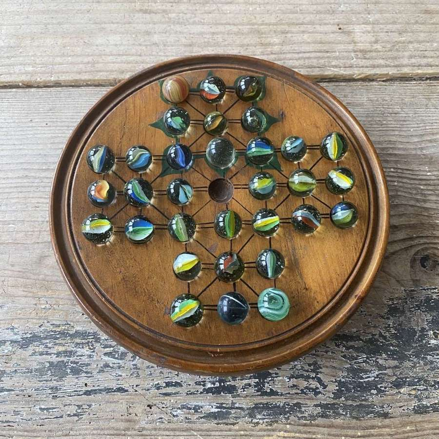 Early 20th Century Treen Solitaire Board with Storage Under & Marbles