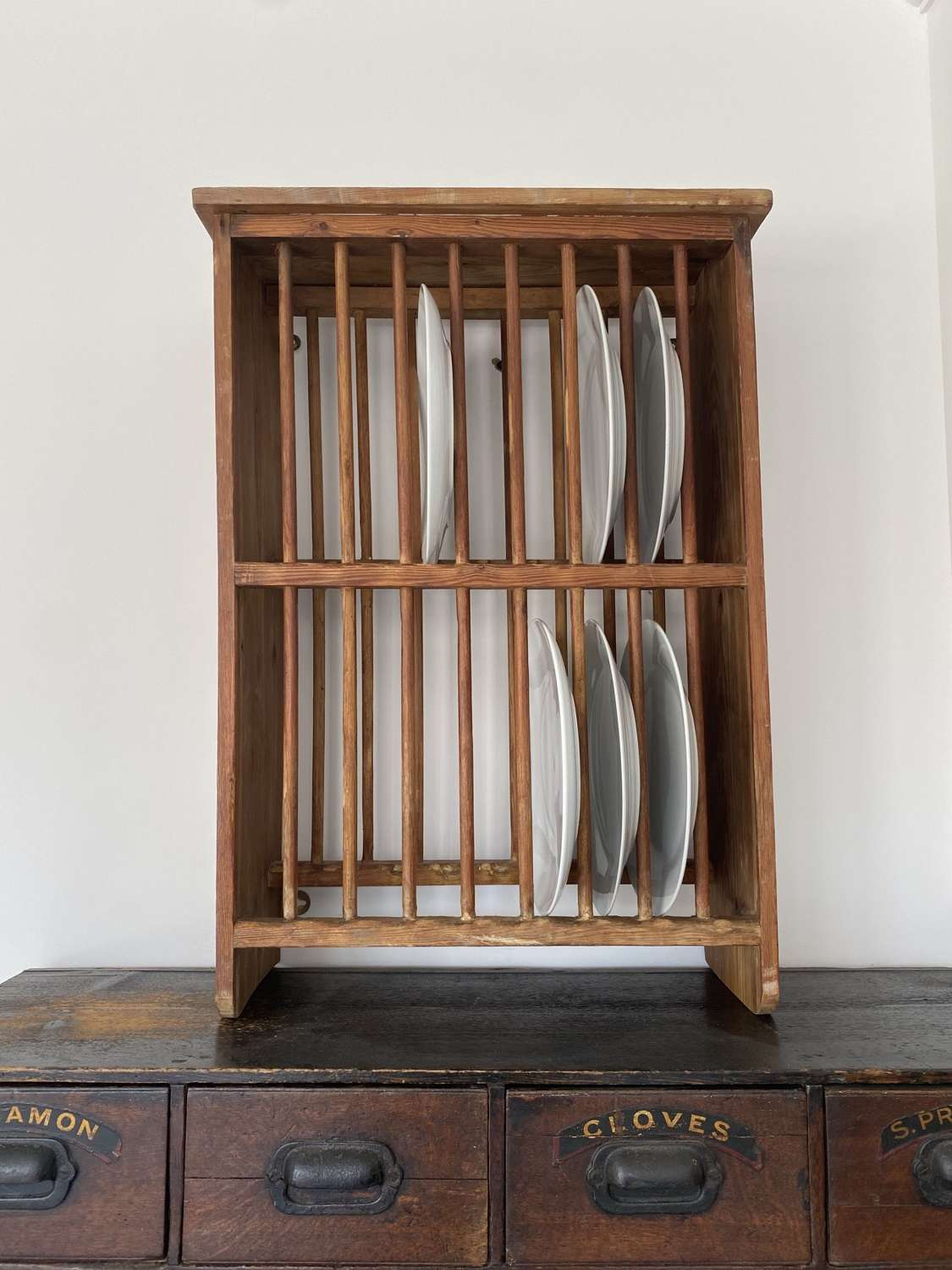 Late Victorian Pine Two Tier Plate Rack - Wall Hang or Freestand