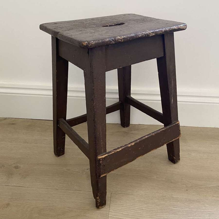 Victorian Pine Stool in its Original Paint