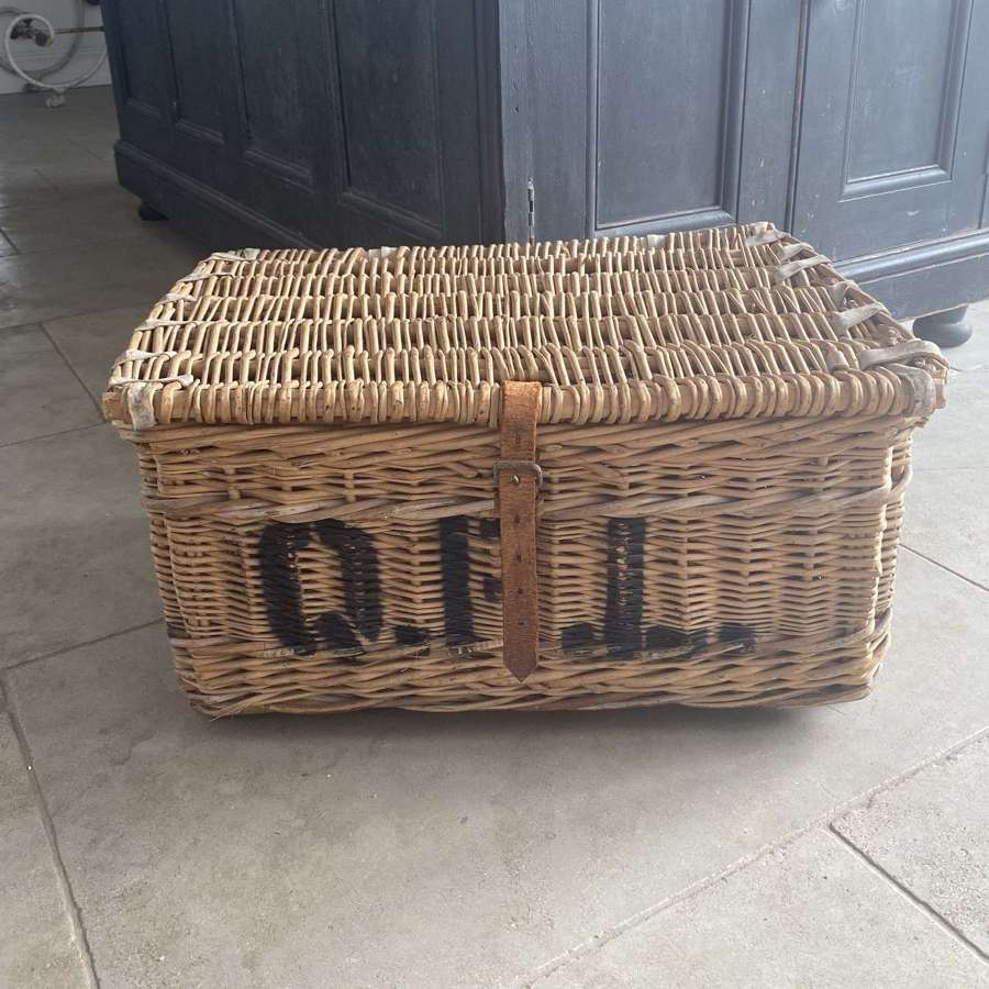 Early 20th Century Leather Bound Laundry Basket - Queens Park Laundry