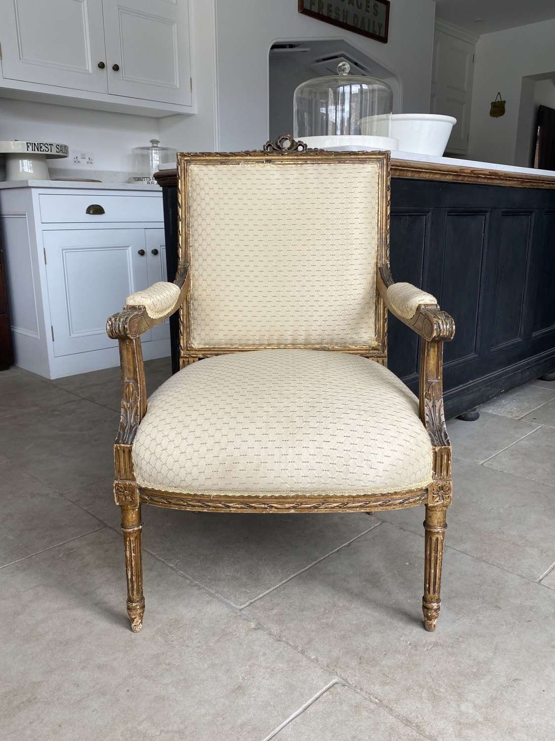 Antique c1920 Giltwood Arm Chair for Re-Upholstery