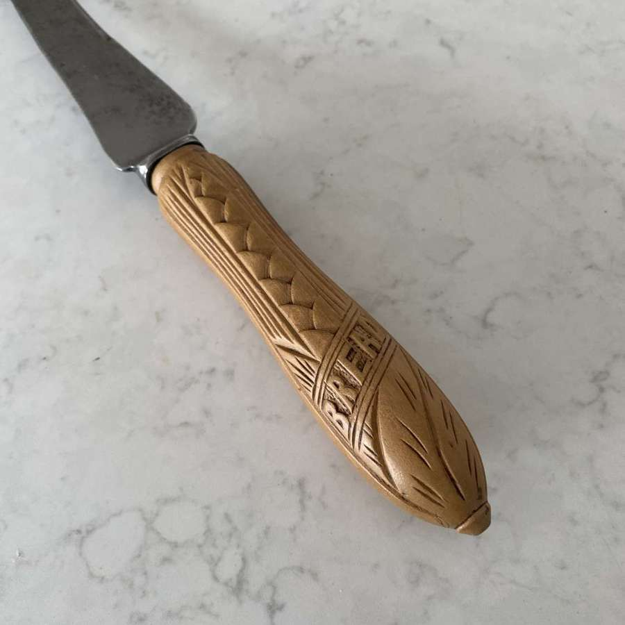 Late Victorian Carved Bread Knife - More Unusual Diagonal Carved Bread