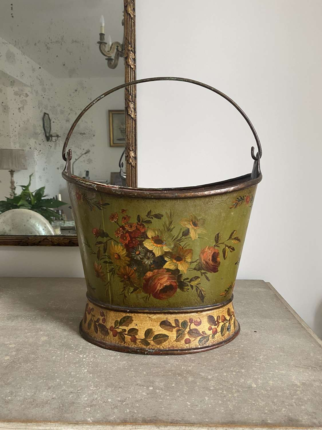 Victorian Beautiful Doubled Sided Toleware Bucket