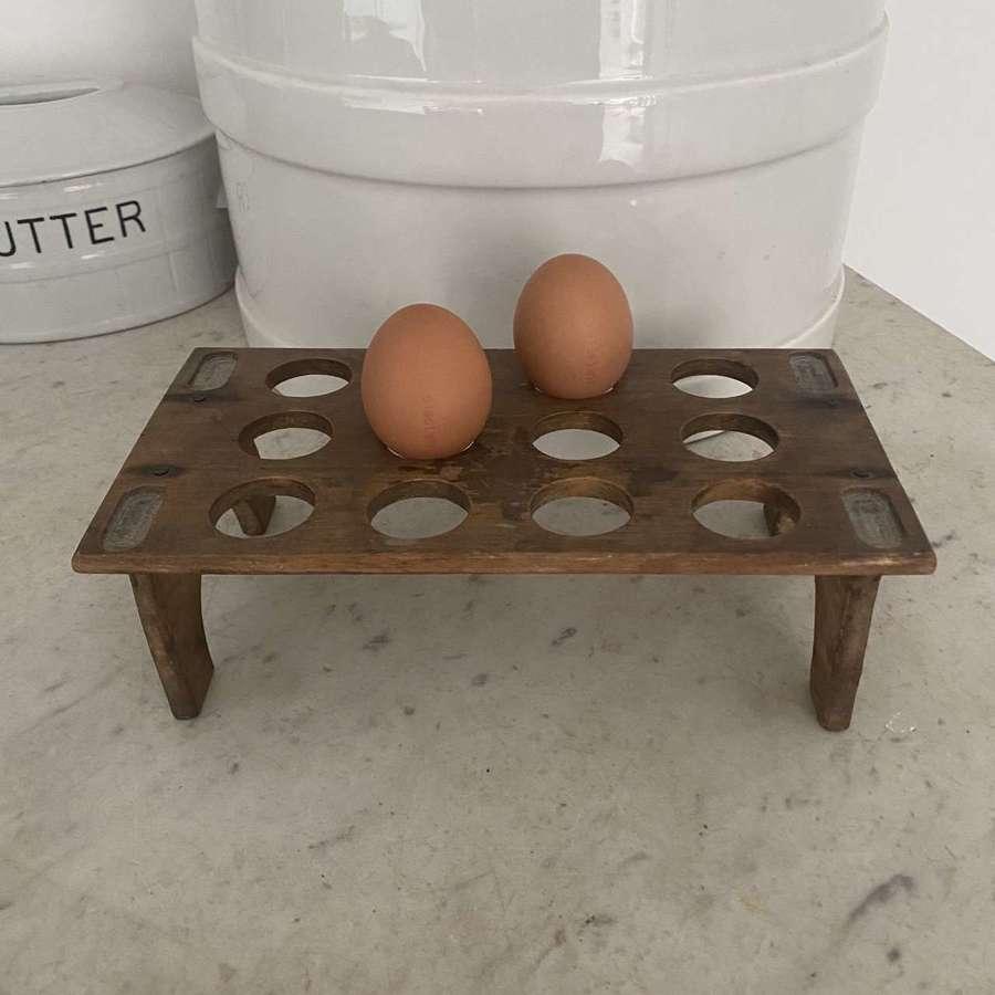 Edwardian Treen Single Tier Egg Rack for One Dozen Eggs