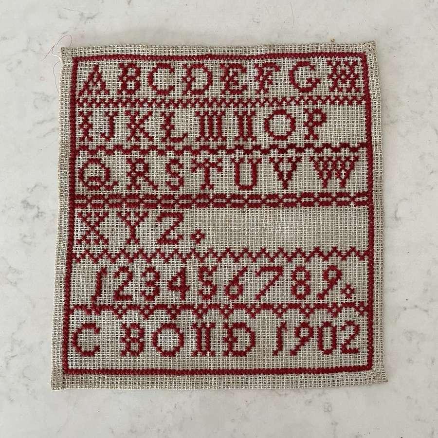 Lovely Condition Edwardian Alphabet Sampler - Dated 1902