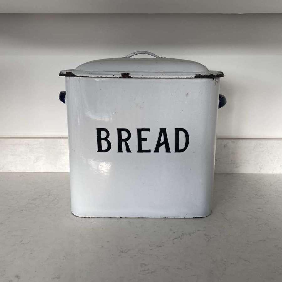 Original 1930s Black on White Enamel Bread Bin