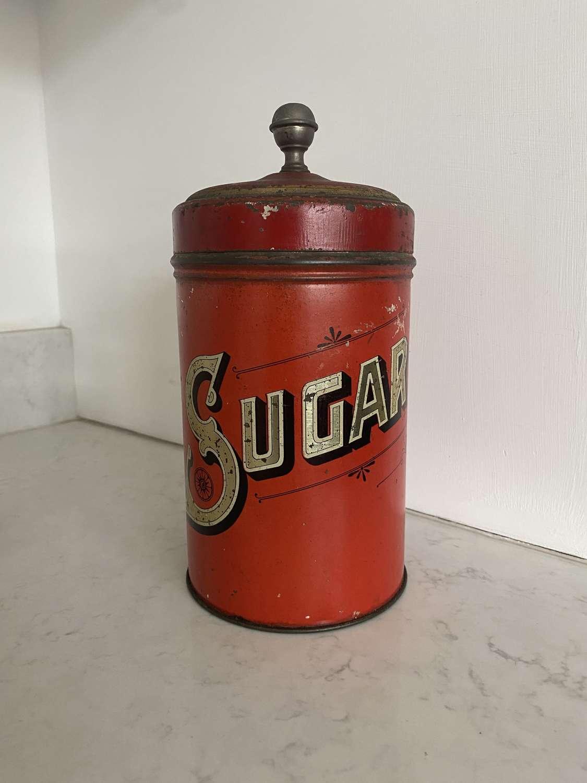 Large Edwardian Red Toleware Sugar Tin