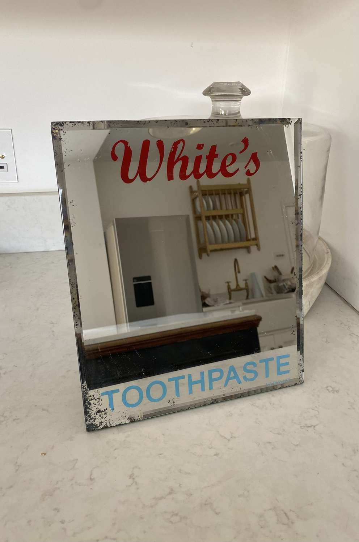Mid Century Bevelled Edge Advertising Mirror - White's Toothpaste