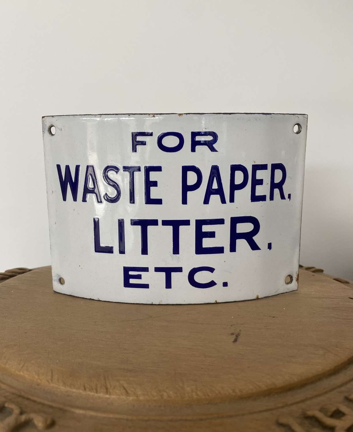 Rare Early 20th Century Enamel Waste Paper Basket Sign