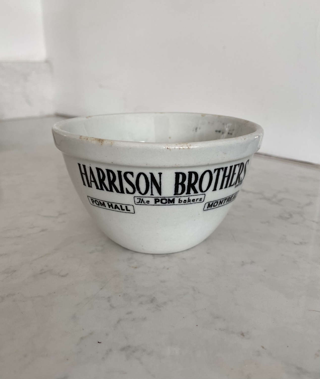 Early 20th Century Tiny Black on White Advertising Pudding Bowl