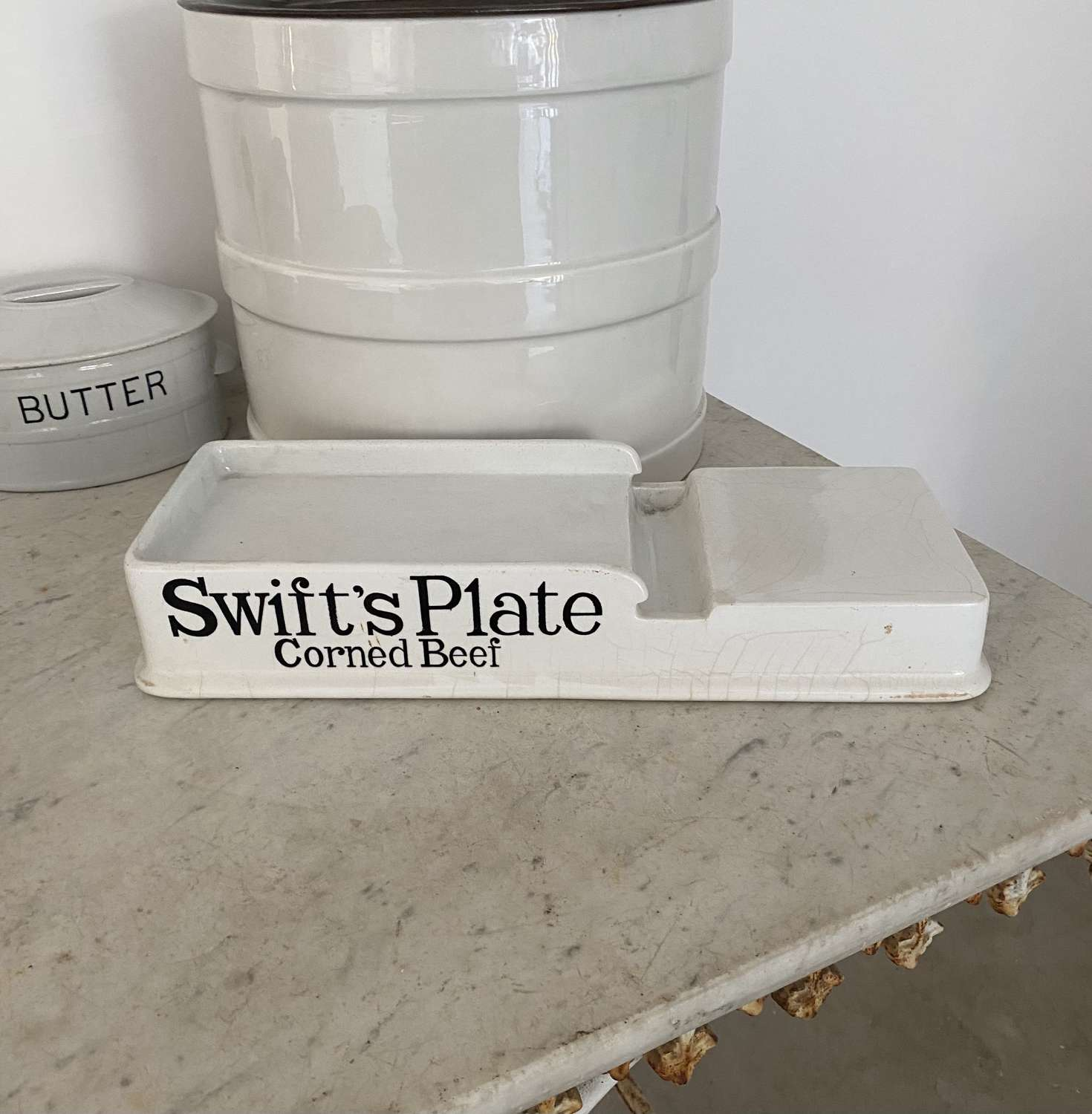 Edwardian White Ironstone Grocers Slab - Swifts Plate Corned Beef
