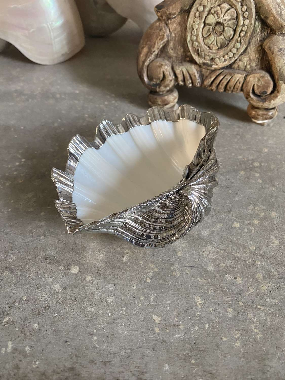 Silver (Not Plated) Covered Buccellati Style Shell Dish