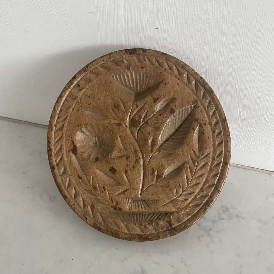Large Victorian Carved Sycamore Butter Stamp - Floral