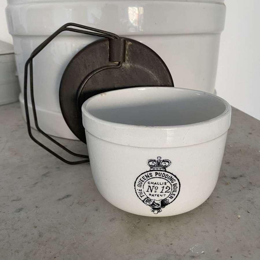 Rare Small White Ironstone Queens Pudding Boiler - Small No12