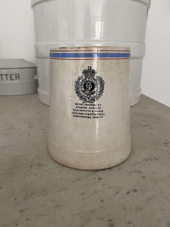Rare Victorian Government White Ironstone Check Measure - Quart