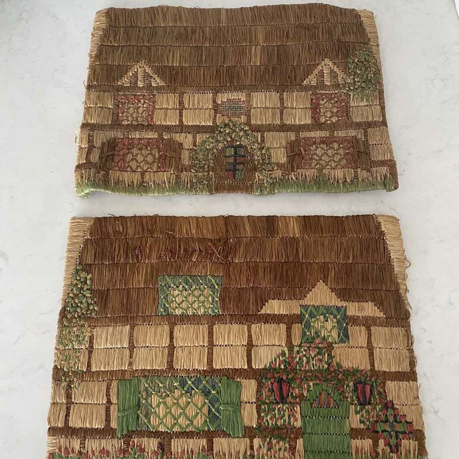 Two Early 20thC Hand Stitched Raffia Cottage Place Mats