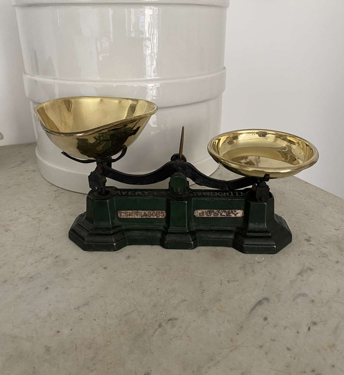 Edwardian Cast Iron Sweet Scales with Brass Pans - Original Paint