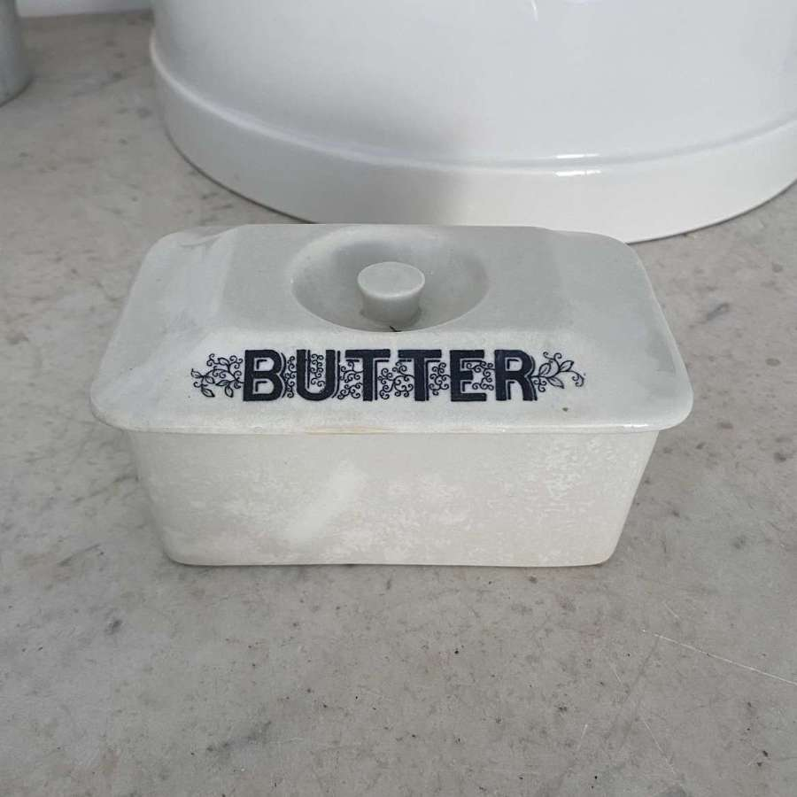 Late Victorian White Ironstone Butter Dish