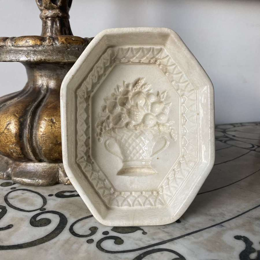 Victorian White Ironstone Mould - Flowers in Urn